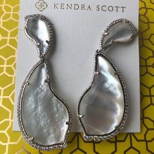 Kendra Scott Teddi Earrings Mother of Pearl Silver